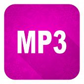 pic of christmas song  - mp3 violet flat icon - JPG