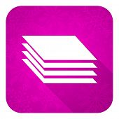 stock photo of gage  - layers violet flat icon - JPG