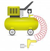 stock photo of air paint gun  - Air compressor and big stapler isolated on white background - JPG