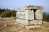 image of synagogue  - Ruins of synagogue in Hirbat Shamma Israel - JPG