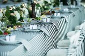 stock photo of wedding table decor  - Photo wedding table decoration in black and white - JPG