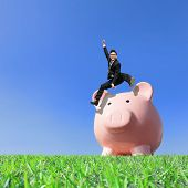 picture of piggy  - Happy Saving Money with my piggy bank  - JPG