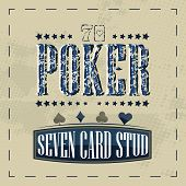 image of stud  - Seven card stud poker game retro background for vintage design - JPG