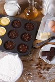 picture of chocolate muffin  - cooking chocolate and vanilla muffins close - JPG