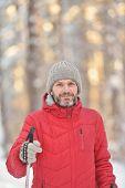 image of nordic skiing  - Mature man cross - JPG