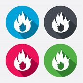 ������, ������: Fire flame sign icon Fire symbol