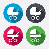 image of buggy  - Baby pram stroller sign icon - JPG