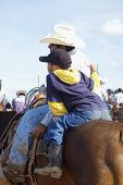 stock photo of brahma-bull  - A cowboy and his son watch the roping events at a rodeo - JPG