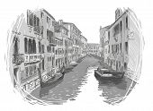 image of freehand drawing  - Venice canal vector freehand sketch - JPG