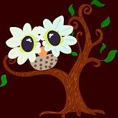 picture of owl eyes  - an illustration of a cartoony baby owl with glassy  - JPG