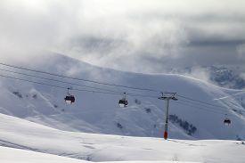 foto of lifting-off  - Gondola lifts and off - JPG