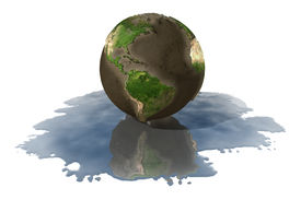 image of world-globe  - A depiction of the Earth with the Oceans drained onto the floor - JPG