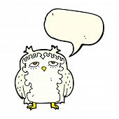 stock photo of wise  - cartoon wise old owl with speech bubble - JPG