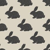 stock photo of hare  - Hand drawn little hares pattern in vintage style - JPG