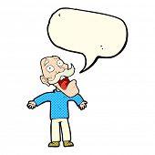 image of terrifying  - cartoon terrified old man with speech bubble - JPG