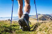 pic of italian alps  - Trekker walking on the mountains - JPG