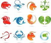 pic of zodiac sign  - Glowing zodiacs isolated on a white background - JPG
