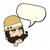 image of hunters  - cartoon victorian big game hunter with speech bubble - JPG
