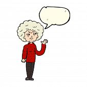 stock photo of annoying  - cartoon annoyed old woman waving with speech bubble - JPG
