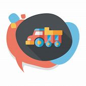 stock photo of dump-truck  - Dump Truck Flat Icon With Long Shadow - JPG