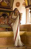picture of sari  - Beautiful young indian woman in traditional clothing with bridal makeup and oriental jewelry. Girl bollywood dancer in Sari posing outdoor near the eastern palace. Eastern fairy tale