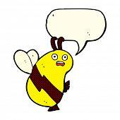 pic of bee cartoon  - funny cartoon bee with speech bubble - JPG