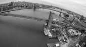 picture of brooklyn bridge  - Aerial View Of Brooklyn Bridge And Manhattan Bridge Spanning The East River And Connecting Brooklyn to Manhattan - JPG