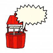 stock photo of wishing-well  - cartoon wishing well with speech bubble - JPG