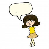 stock photo of clever  - cartoon clever girl with speech bubble - JPG