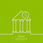 pic of coin bank  - Financial institution with a coin on a green background with triangles - JPG
