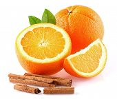 stock photo of cinnamon  - Orange with cinnamon - JPG