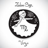 picture of horoscope  - Virgo zodiac sign of horoscope circle emblem in cartoon style - JPG