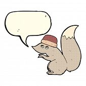 foto of crazy hat  - cartoon squirrel wearing hat with speech bubble - JPG