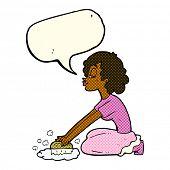 foto of scrubs  - cartoon woman scrubbing floor with speech bubble - JPG