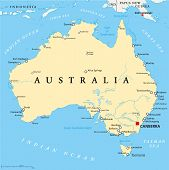 picture of political map  - Australia Political Map with capital Canberra - JPG