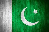 picture of pakistani flag  - Pakistan flag or Pakistani banner on wooden boards background - JPG