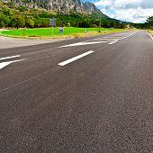 picture of crossroads  - Crossroads in the French Alps in the Morning - JPG