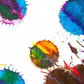 pic of indigo  - Color red orange yellow green blue indigo violet ink stain on a white background - JPG