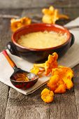 pic of chanterelle mushroom  - mushroom casserole with cheese and fresh chanterelles - JPG