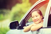 stock photo of driver  - young asian woman driver sit interior car - JPG