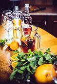 image of sangria  - Large jar of sangria with red wine - JPG