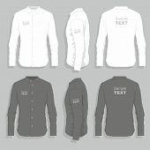 stock photo of button down shirt  - Black and white dress shirts  - JPG
