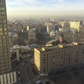 foto of early morning  - early sunny morning view in centre of Moscow city - JPG