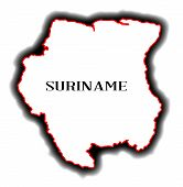 stock photo of suriname  - Outline blank map of the South American country of Suriname - JPG