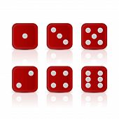 stock photo of dice  - Six red dices for games with all the numbers - JPG