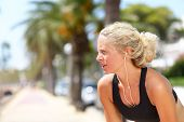 picture of breathing exercise  - Tired running woman taking a break during run - JPG