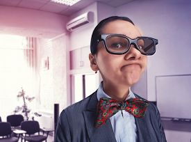 picture of queer  - Funny thoughtful nerd girl  - JPG