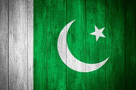 stock photo of pakistani flag  - Pakistan flag or Pakistani banner on wooden boards background - JPG