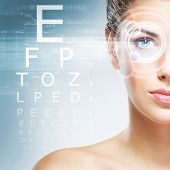 Постер, плакат: Woman with a laser on her eyes ophthalmology optometry and eye scanning technology