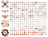 Air drones and quadcopter tools icons poster